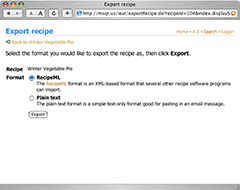 Export recipe files